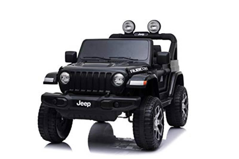 Babycar Jeep ® Wrangler Rubicon 2 Posti 12 Volt con Sedile in Pelle Macchina Elettrica Jeep per Bambini Porte apribili con Telecomando 2.4 GHz Soft Start Full Optional (Nera) (Nero)