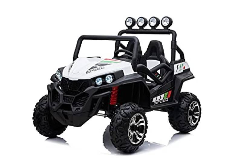 Mondial Toys Auto Elettrica Macchina Fuoristrada per Bambini 2 POSTI MAXI BUGGY 24V con Telecomando 2.4G Soft Start Ammortizzatori Full Optional Bianco
