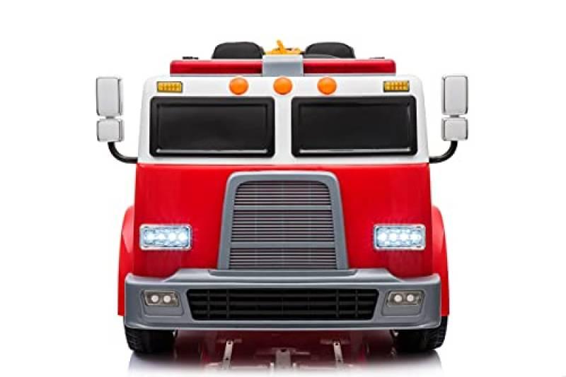 CIERVO Macchina Elettrica per Bambini Camion Pompieri a 2 Posti 24V con Telecomando Bluetooth Porte Apribili Fornito con Luci alle Ruote Sirena Caschetto, Estintore