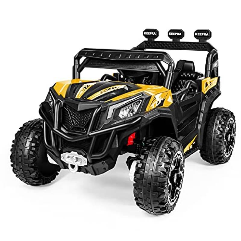 Macchina Elettrica per Bambini, 4WD 30W Jeep Fuoristrada UTV con Telecomando, 12V Camion Elettrico Alimentato a Batteria, 2 Velocità, MP3 Bluetooth, Bagagliaio, Regalo per Bambini-Giallo